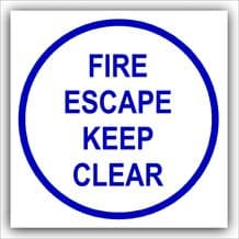 1 x Fire Escape Keep Clear-87mm,Blue on White-Health and Safety Security Door Warning Sticker Sign-87mm,Blue on White-Health and Safety Security Door Warning