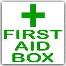 1 x First Aid Box-Green on White,External Self Adhesive Stickers-Medical,Health and Safety Signs
