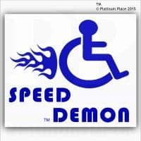 1 x Funny Joke-Speed Demon-EXTERNAL BLUE ON WHITE-Disabled Car,Van Sticker-Disability Mobility Sign Outside Window Sticker for Truck,Vehicle,Self Adhesive Vinyl