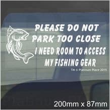1 x I Need Room To Access My Fishing Gear-Car Window Sticker-Fun Fish Rod Box Sign