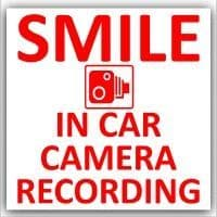 1 x In Car Camera Recording Sticker-Design 2-CCTV Sign-Van,Lorry,Truck,Taxi,Bus,Mini Cab,Minicab-Red on White