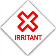 1 x Irritant-Red on White,External Self Adhesive Warning Stickers-Health and Safety Sign