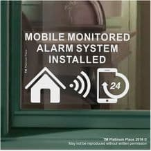 1 x MOBILE Monitored Alarm System Installed Sticker-130mm White on Clear Internal Window Appllication-24hr Security Warning Sign for Home,House,Flat