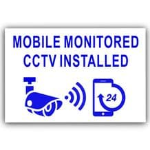 1 x Mobile Monitored CCTV Installed,External Stickers,Blue 130mm,Warning,Camera,Security,Home