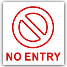 1 x No Entry Sticker-Self Adhesive Door,Office,External Window Safety Sign-Health and Safety-Warning