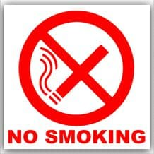 1 x No Smoking-Red on White with Text,External Self Adhesive Warning Stickers-Bottle Logo-Health and Safety Sign