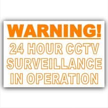 1 x Orange on White-130mm-WORDED Only-Warning 24 Hour CCTV Surveillance In Operation Stickers-Closed Circuit Television Security-Self Adhesive Vinyl Sign