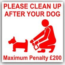 1 x Please Clean Up After Your Dog Warning Stickers-Poo Mess Self Adhesive Signs-Fine,Dog,Poo Mess,Clean,Walk,Pet,Puppy