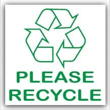 1 x Please Recycle Recycling Bin Adhesive Sticker-Recycle Logo Sign-Environment Label