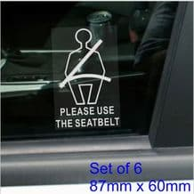 1 x Please Use The Seat Belt Stickers-Safety Signs-Taxi,Car,Minibus,Mini Cab-White/Clear