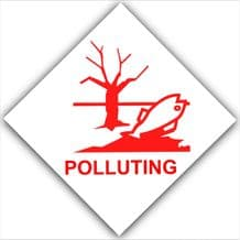 1 x Polluting-Red on White,External Self Adhesive Warning Stickers-Pollution Health and Safety Sign-Fishing Lake,Water,Fishery,Danger