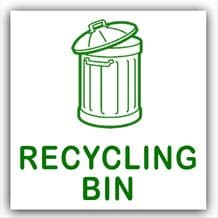 1 x Recycling Bin-WITH BIN IMAGE-Self Adhesive Sticker-Recycle Logo Sign-Green on White Waste Environment Label