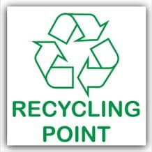 1 x Recycling Point Adhesive Sticker-Recycle Logo Sign-Environment Label