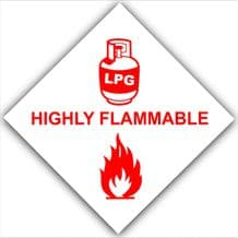 1 x Red on White-HIGHLY FLAMMABLE LPG Gas On Board-External Self Adhesive Stickers-Liquid Petroleum Propane Butane-Health and Safety Signs-Caravan,Camper