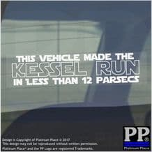 1 x This Vehicle Makes the Kessel Run Less Than 12 Parsecs-Window,Car,Van,Sticker,Sign,Meme