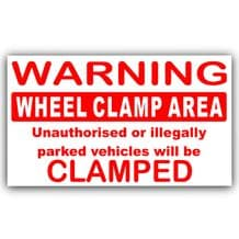 1 x Wheel Clamping Clamp Area-Parking Warning Sticker-Red External Sign Notice