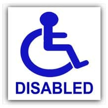 1 x Worded - Disabled Sticker -Disability Wheelchair- Mobility Self Adhesive Car,Van,Taxi,Mini Cab,Coach Self Adhesive Sign