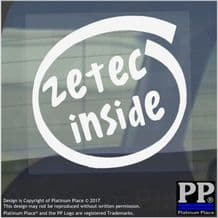 1 x Zetec Inside-Window,Car,Van,Sticker,Sign,Vehicle,ZS,S,Fast,Ford,Speed,ST,RS