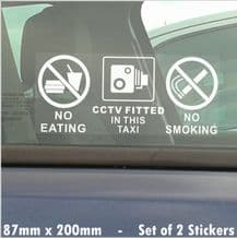 2 x CCTV Fitted In This Taxi,Window Stickers-No Smoking,Eating,Drinking,CCTV Fitted- LARGE Cab Signs