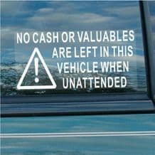 2 x Large Version-No Cash or Valuables Are Left In This Vehicle When Unattended-180x87mm Window Security Stickers-Car,Van,Truck,Taxi,Mini Cab,Bus,Coach
