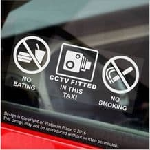 2 x No Eating,No Drinking,No Smoking-CCTV Fitted Stickers-WINDOW-120x50mm-Taxi,Minicab,Minibus,Cab Notice Sign