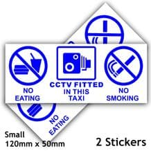 2 x No Eating,Smoking,Drinking,CCTV Fitted Stickers-120x50mm Blue on White-Taxi,Minicab,Minibus,Cab Notice Sign