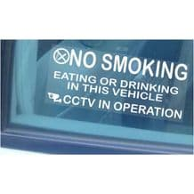 2 x Vehicle Window Stickers-205mmx87mm-No Smoking,Eating,Drinking,CCTV In Operation-Car,Van,Lorry,Truck,Coach Large Warning Sign