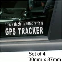 4 x Fitted with a GPS Tracker Security WINDOW Stickers For Car,Van,Truck,Taxi,Mini Cab,Bus,Coach Alarm Signs