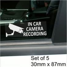 5 x In Car Camera Recording-STANDARD Camera Design-Window Stickers-87mm x 30mm White on Clear-CCTV Sign-Van,Lorry,Truck,Taxi,Bus,Mini Cab,Minicab-Security