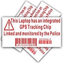 5 x Laptop Security Stickers-Fake Dummy GPS Police Tracking Sign-Dell,HP,Apple,Mac