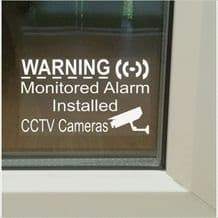 5 x SMALL 50mm-Monitored Alarm System Installed and CCTV Video Recording Camera-Security Warning Window Stickers-Mini Self Adhesive Vinyl Signs