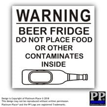 Beer Fridge-Black/White-87x87mm-Sticker,Sign,Notice,Warning,Joke,Trade,Work