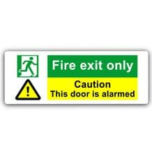Fire Exit Only-WITH IMAGE-Aluminium Metal Sign-Door,Notice,Caution,Security,Alarm,Warning,Safety
