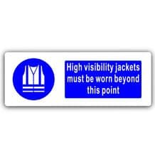 High Visibility Jackets Must Be Worn-WITH IMAGE-Aluminium Metal Sign-Door,Notice,Health,Safety,Work
