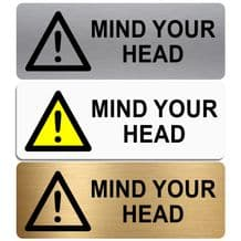 Mind Your Head-WITH IMAGE-Aluminium Metal Sign-Door,Notice,Shop,Office,Restaurant,Pub,Cafe