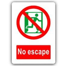 No Escape-Aluminium Metal Sign-150mmx100mm-Door,Notice,Safety,Business,Fire,Security,Procedure,Shop
