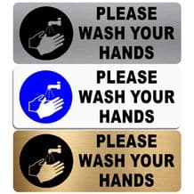 Please Wash Your Hands-WITH IMAGE-Aluminium Metal Sign-Door,Notice,Bathroom,Toilet,Hygiene,Health