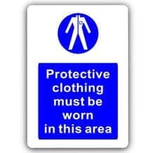 Protective Clothing Must Be Worn-Aluminium Metal Sign-150mmx100mm-Notice,Safety,Business,Health,Work