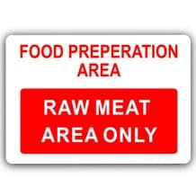 Raw Meat Area Only-Aluminium Metal Sign-150mmx100mm-Food,Preparation,Catering,Business,Cafe,Chicken