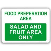 Salad & Fruit Area Only-Aluminium Metal Sign-150mmx100mm-Food,Preparation,Catering,Business,Cafe