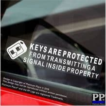 5 x Keyless Entry Security Stickers-Keys Are Protected Inside Property Signal Warning ,Car,Van,Truck