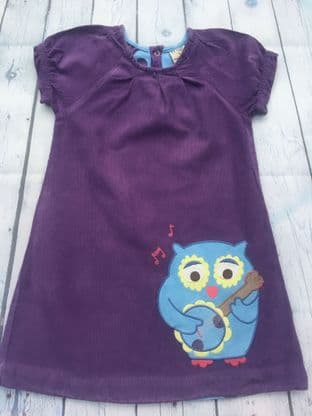 Frugi needlecord applique owl dress