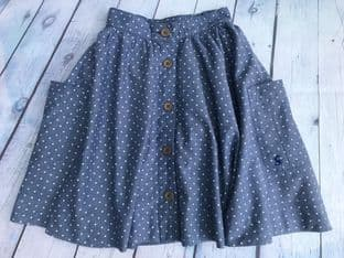 Joules blue polka dot twirly skirt age 5-6