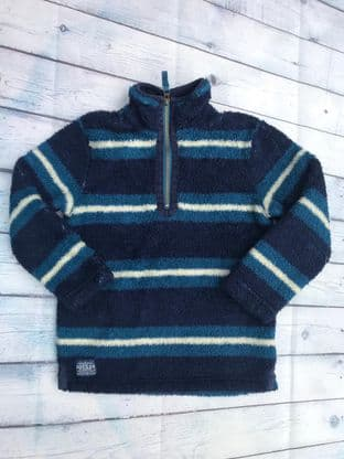 Joules blue striped fluffy fleece zip up top age 8 (fits 7-8)