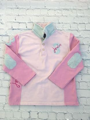 Joules long sleeved polo top pink and blue