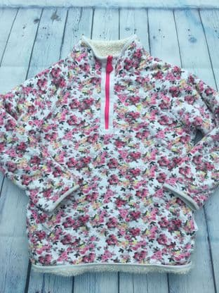 Joules pink floral reversible fleece age 9-10
