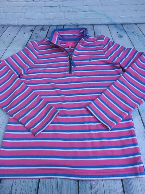 Joules zip up striped pink and blue top