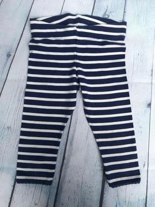 Mini Boden blue and white striped leggings age 5-6