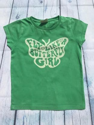 Mini Boden green butterfly tshirt age5-6
