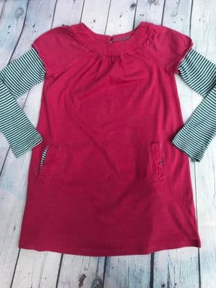 Mini Boden pink layered dress with teal and white striped sleeves and front pockets age 5-6
